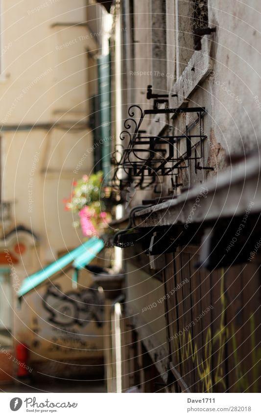 Hauswand in Venedig alt Sonne Graffiti Wand Architektur Mauer Gebäude Fassade dreckig Armut Europa Schönes Wetter kaputt beobachten einzigartig Vergänglichkeit