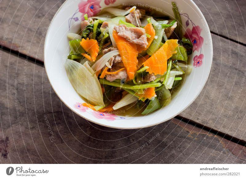 kambodschanisches essen. die zweite. grün Wärme braun rosa Lebensmittel Orange Ernährung Gemüse Fleisch Schalen & Schüsseln Mittagessen Möhre Grünpflanze Saucen
