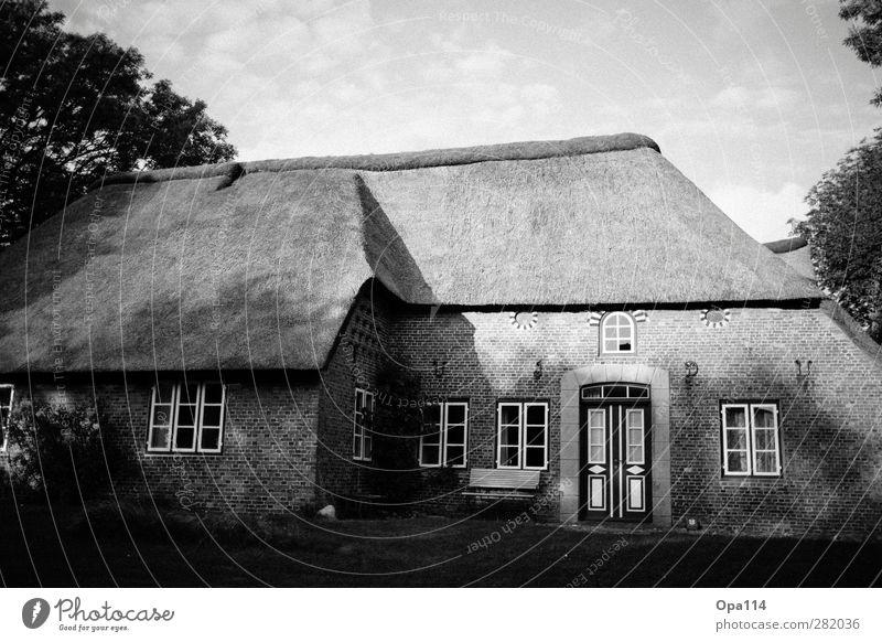 Haus Dorf Kleinstadt Stadtrand Einfamilienhaus Traumhaus Bauwerk Gebäude Architektur Mauer Wand Fassade Garten Fenster Tür Dach warten schwarz weiß