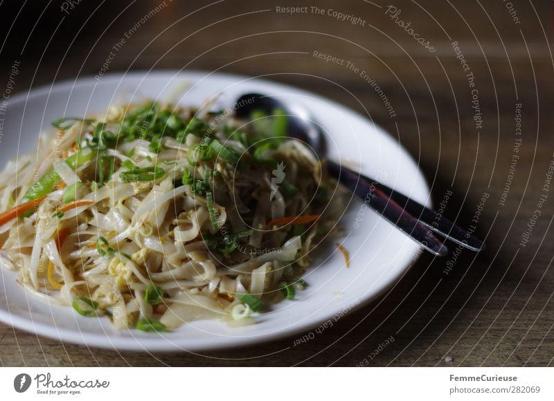 No. 55: Vegetable noodles. Holz Essen Gesundheit Lebensmittel Ernährung genießen Gemüse Teller Bioprodukte Abendessen Mittagessen Nudeln links Besteck Löffel