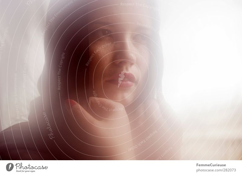 Incidence of light. Mensch Frau Jugendliche schön Sommer Sonne rot Erwachsene Fenster Junge Frau feminin Kopf Stil hell 18-30 Jahre natürlich