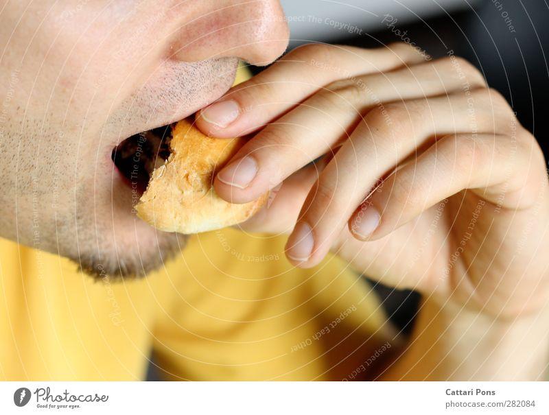 Sonntagmorgen Lebensmittel Teigwaren Backwaren Brötchen Süßwaren Schokolade Ernährung Essen Frühstück Haut Gesicht maskulin Erwachsene 1 Mensch T-Shirt Stoff