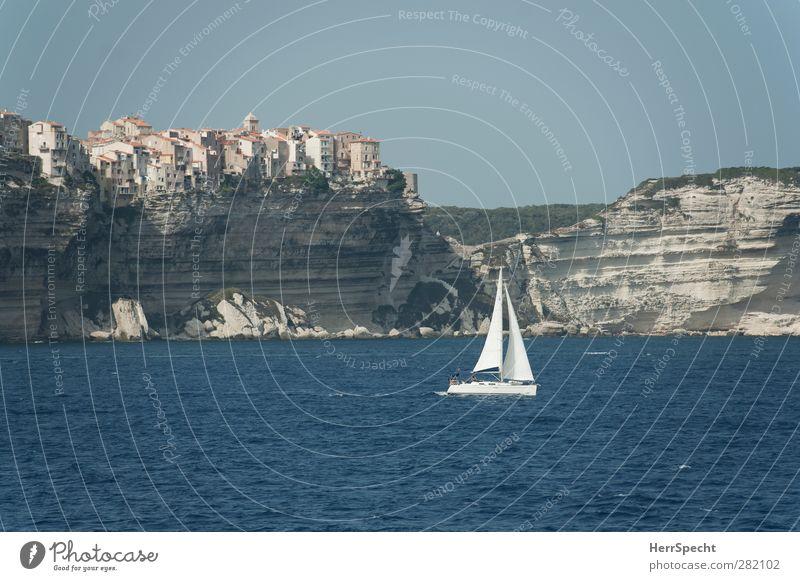 Bonifacio blau Ferien & Urlaub & Reisen Sommer Sonne Meer Ferne Küste Freiheit grau außergewöhnlich Wellen Insel Tourismus Ausflug ästhetisch Schönes Wetter