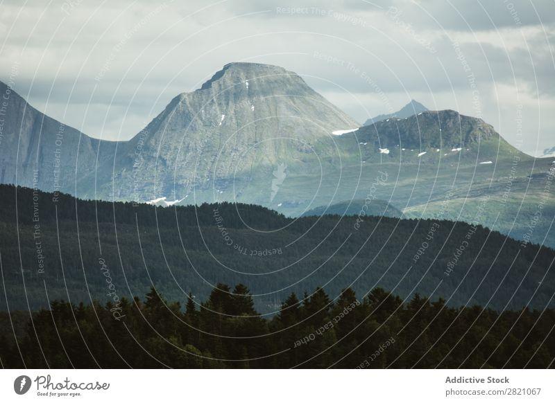 Landschaft der felsigen Berge in der Ferne Berge u. Gebirge Panorama (Bildformat) dramatisch Gelände Wald ruhig Ferien & Urlaub & Reisen Fernweh Abenteuer
