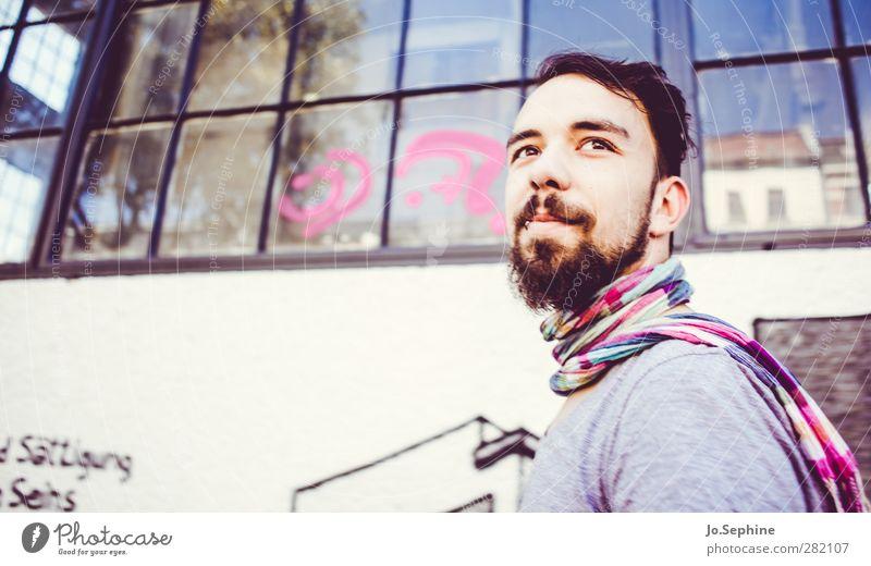 so soft so pink Mensch Jugendliche Stadt Erwachsene Fenster Graffiti Junger Mann Stil 18-30 Jahre rosa Zufriedenheit maskulin Lifestyle Lächeln niedlich Hoffnung