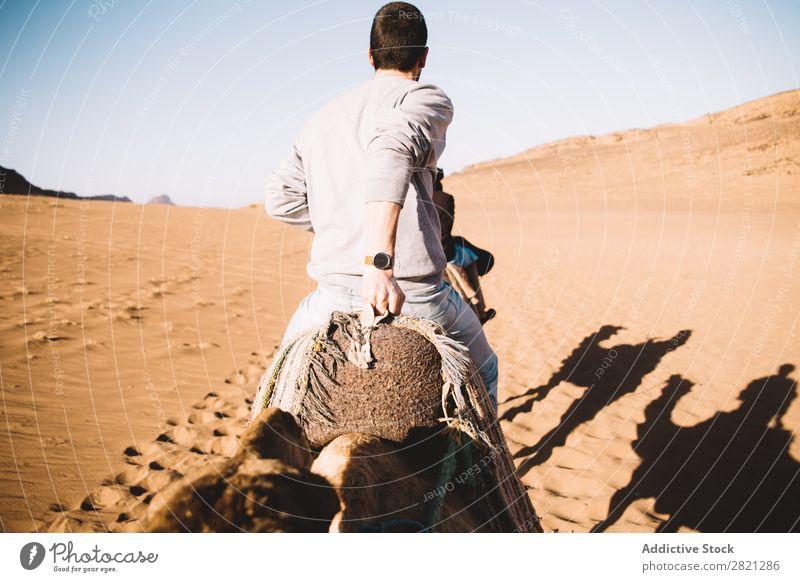 Mann reitet auf einem Kamel in der Wüste Tourist Reiten Ferien & Urlaub & Reisen Tourismus Natur heiß Abenteuer Karavane Ausflug Sand Tier arabisch heizen