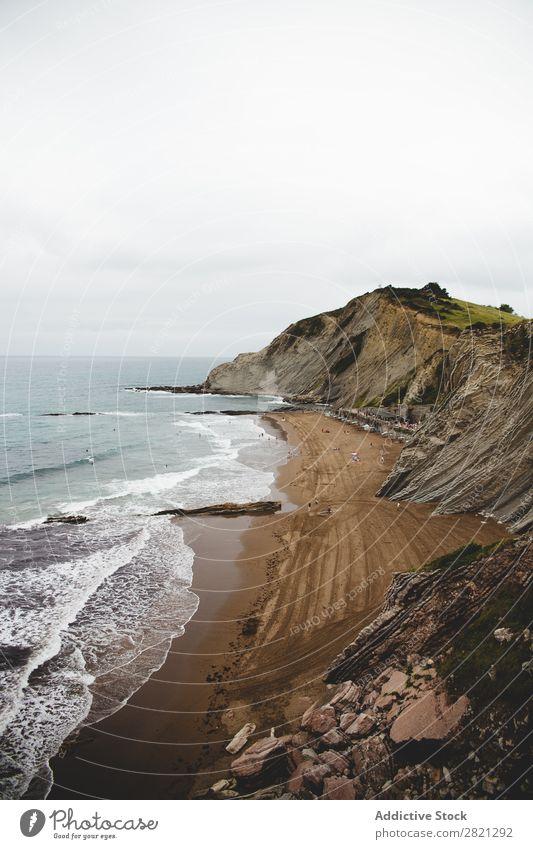 Malerischer Blick auf die Küste Klippe Aussicht Fluggerät Meer Landschaft Natur Wasser Felsen Ferien & Urlaub & Reisen Strand Meereslandschaft schön Stein