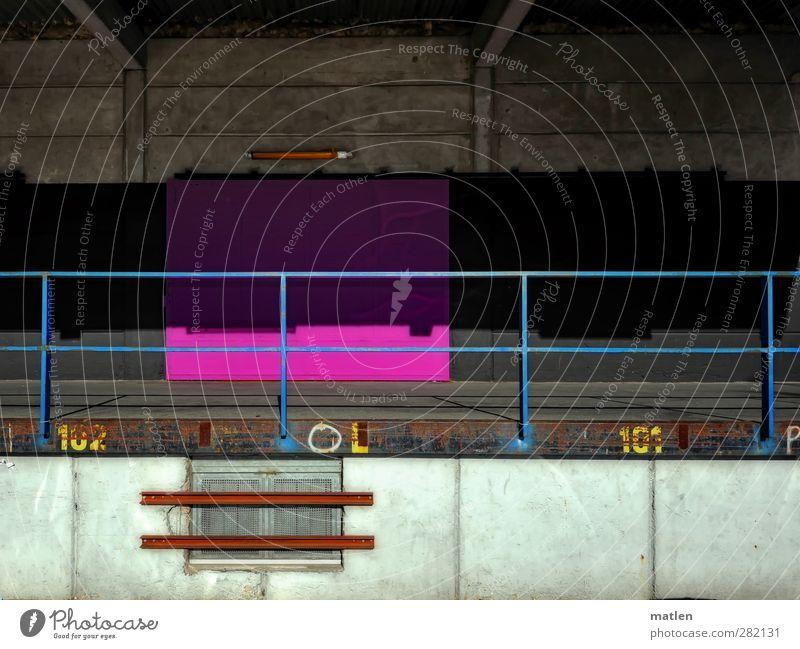 Rampenfieber Arbeitsplatz Handel Menschenleer Industrieanlage Mauer Wand Güterverkehr & Logistik blau braun gelb grau rosa schwarz weiß bunt Verladerampe