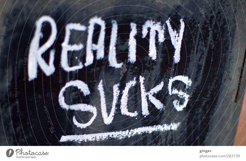 Montag Schriftzeichen schwarz weiß Großbuchstabe Schilder & Markierungen Ankündigung Kreide Aussage Statement 2 Wort wirklich Reality sucks Linie Farbfoto