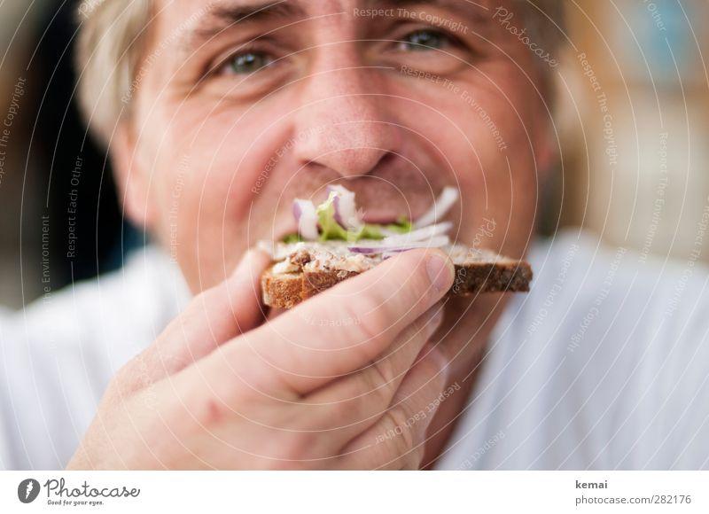 Schmalzbrot Lebensmittel Salat Salatbeilage Brot Zwiebel Ernährung Essen Mittagessen Büffet Brunch Vesper Mensch maskulin Mann Erwachsene Gesicht Auge Nase Hand