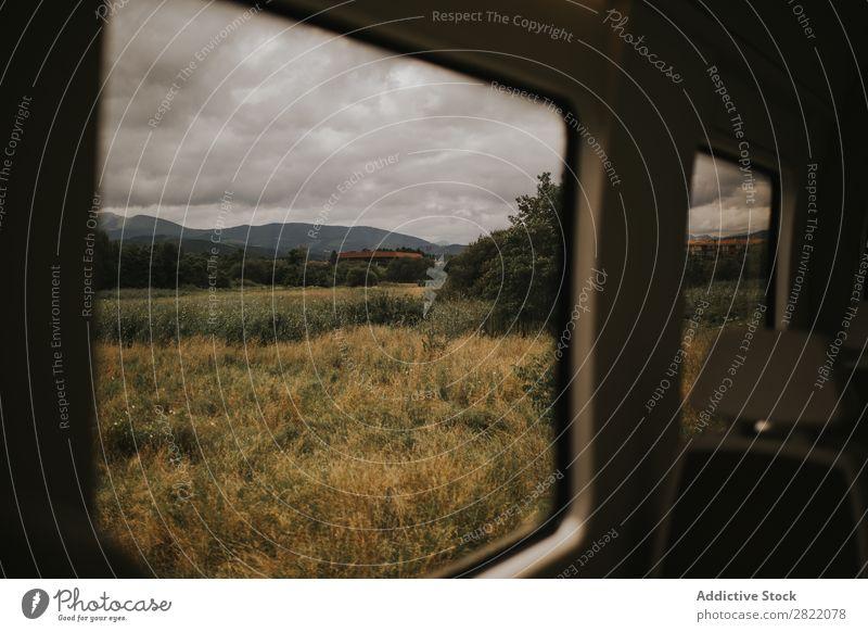 Trockenwiese aus dem Auto Wiese Feld regenarm Natur Landschaft PKW Gras Himmel