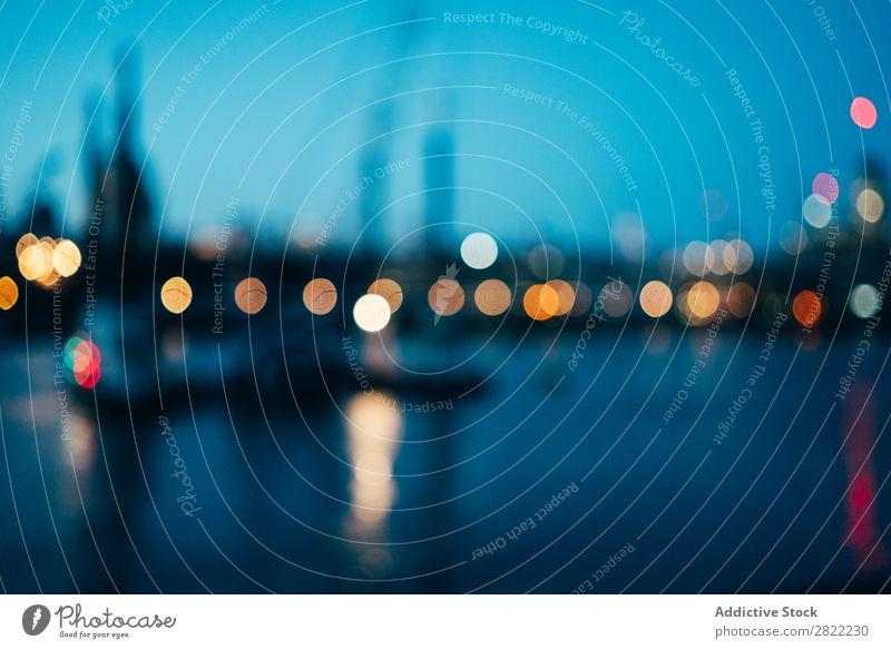 Verschwommenes Stadtbild in der Nacht Skyline Licht London England Dämmerung erleuchten Vientiane Leben Ferien & Urlaub & Reisen mehrfarbig Landschaft Großstadt