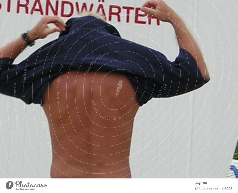 Strandwärter Mann Wasser Strand T-Shirt Pullover Nordsee entkleiden