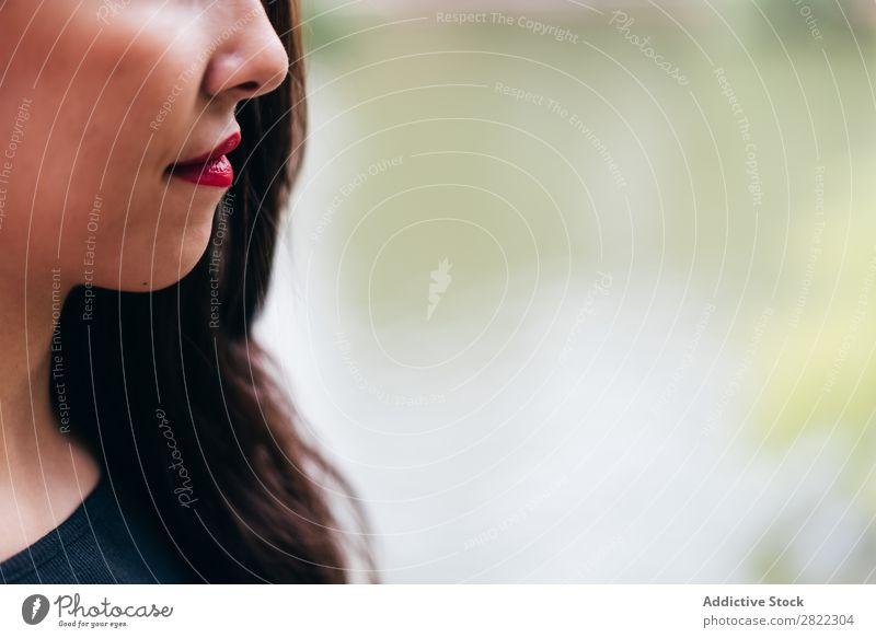 Zuschneiden des Gesichts der Frau hübsch Jugendliche schön rote Lippen stehen Natur brünett attraktiv Mensch Beautyfotografie Erwachsene Stil niedlich Lifestyle