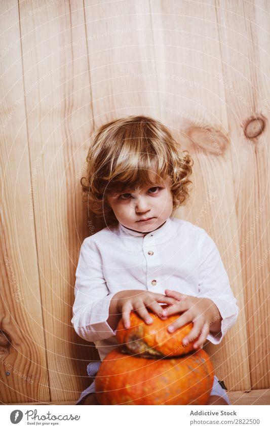 Bezauberndes Kind, das mit Kürbis posiert. Körperhaltung Ferien & Urlaub & Reisen Halloween Herbst Menschliches Gesicht Kindheit Zauberei u. Magie Phantasie