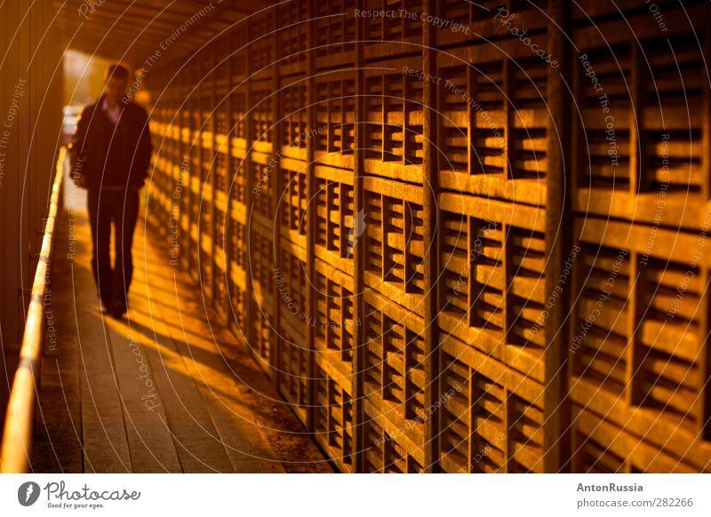 Wandern Mensch maskulin Mann Erwachsene 1 18-30 Jahre Jugendliche Stadt Durchgang Überfahrt Mauer Fassade laufen Gefühle Traurigkeit Liebeskummer Farbfoto