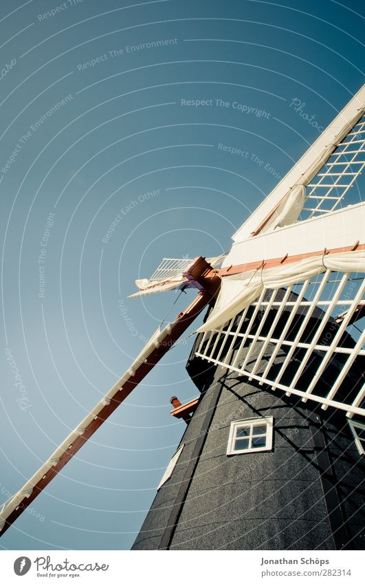 volle Mühle Gebäude Architektur Zufriedenheit Windmühle Blauer Himmel himmelblau Windmühlenflügel nordisch Dänemark Niederlande Warmes Licht Windkraftanlage