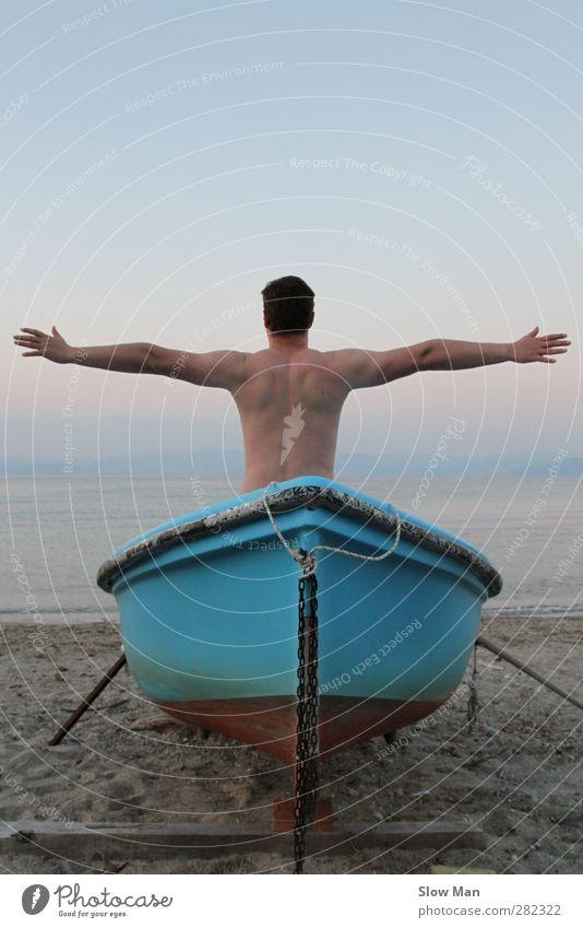 Leinen los ! blau Meer Strand ruhig Erholung Ferne Sport Freiheit Zeit Wasserfahrzeug Körper Rücken maskulin Abenteuer Idylle Hoffnung
