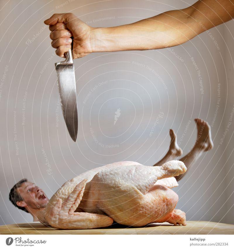 to be a suppenhuhn Lebensmittel Fleisch Mensch maskulin Körper Haut 1 Tier Nutztier Totes Tier Vogel Blick Messer Klinge scharf töten Tod Mord Karnevalskostüm