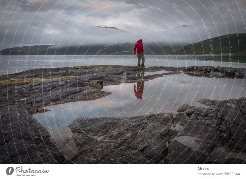 Nächtlicher Nordmeerwanderer 1 Mensch Wasser Felsen Küste Meer Polarmeer Norwegen träumen Traurigkeit dunkel trist wild Sorge Trauer Sehnsucht Einsamkeit