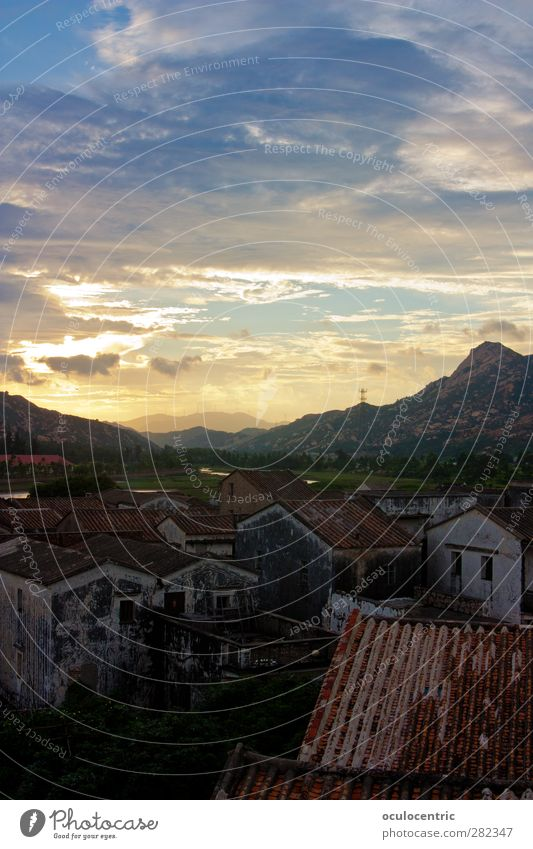 Der Untergang Natur Landschaft Himmel Wolken Horizont Sonnenaufgang Sonnenuntergang Sonnenlicht Sommer Berge u. Gebirge Yangshuo Yangjiang China Guangdong Asien