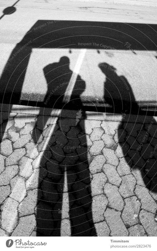 Fernweh | Wartende an der Bushaltestelle Verkehr Öffentlicher Personennahverkehr Straße Stein Schilder & Markierungen warten grau schwarz weiß Gefühle geduldig
