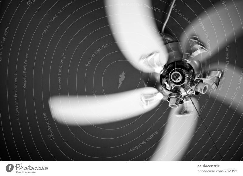 Wirbelwind Ventilator drehen glänzend sportlich Geschwindigkeit Dynamik wehen Wind Chrom Decke Schwarzweißfoto Innenaufnahme Experiment Menschenleer