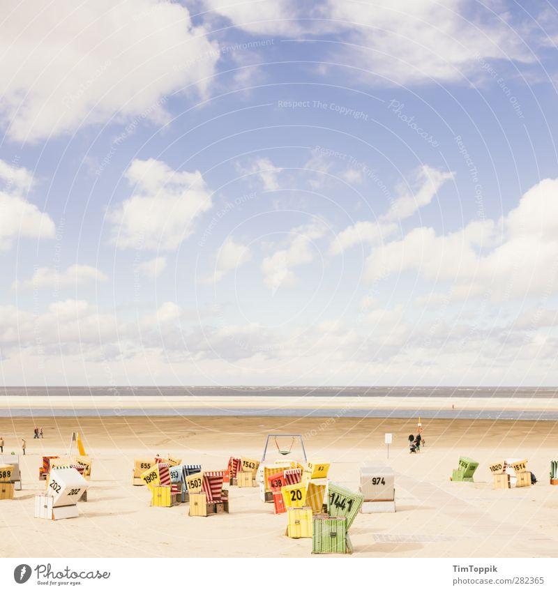 Langeoog Beach Natur Landschaft Wasser Erholung Nordsee Meer Strand Strandkorb Ferien & Urlaub & Reisen Urlaubsfoto Urlaubsort Urlaubsstimmung Horizont