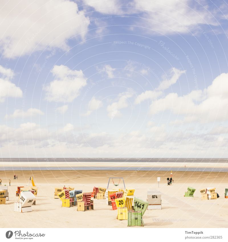 Langeoog Beach Natur Wasser Ferien & Urlaub & Reisen Meer Strand Wolken Landschaft Erholung Horizont Insel Nordsee Schaukel Strandkorb Wolkenhimmel Langeoog Urlaubsfoto