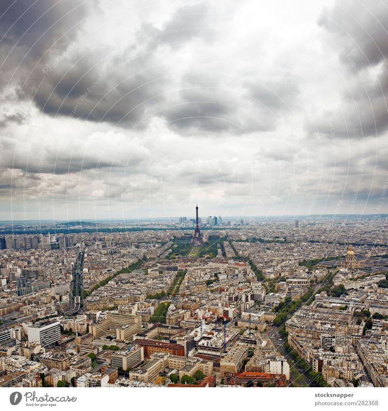 Paris Frankreich Stadt Fluggerät Architektur Tour d'Eiffel Turm Wolken Tag Französisch