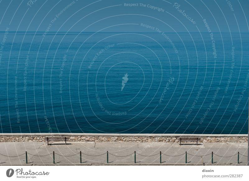 Sitzgelegenheit | mit Meerblick Himmel Wasser Ferien & Urlaub & Reisen Sommer Erholung Umwelt Ferne Wege & Pfade Küste Freiheit Wetter Wellen Insel Tourismus