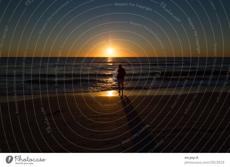 Zeit Ferien & Urlaub & Reisen Tourismus Ausflug Ferne Sommer Sommerurlaub Sonne Strand Meer Mann Erwachsene 1 Mensch Landschaft Wolkenloser Himmel Horizont