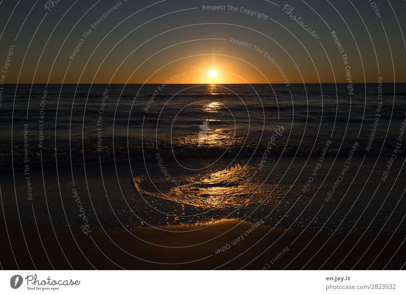 Fast geschafft Ferien & Urlaub & Reisen Ausflug Ferne Sommer Sommerurlaub Sonne Strand Meer Wellen Natur Landschaft Himmel Horizont Sonnenaufgang