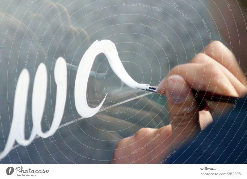 zeichen setzen Bildung Schule Schüler Werbebranche Hand Finger Schriftzeichen lernen schreiben grau weiß Handschrift handschriftlich Schönschrift Kalligraphie