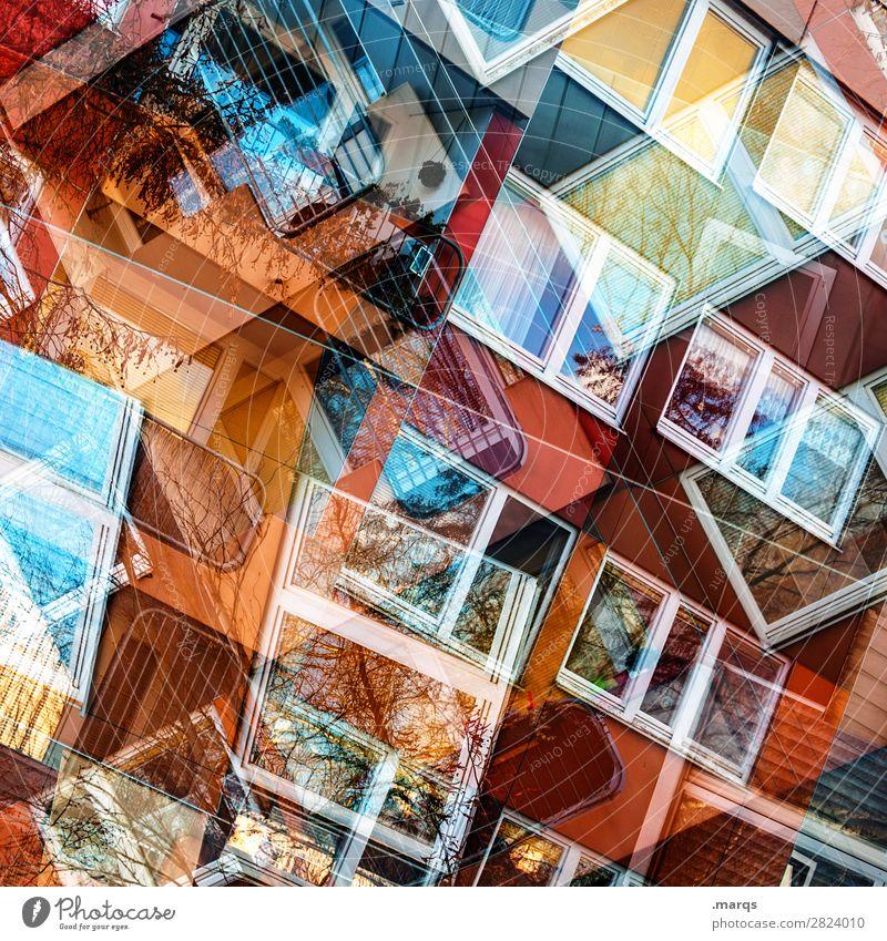 Windows 2019 Lifestyle Stil Design Fassade Fenster Linie außergewöhnlich Coolness trendy einzigartig modern chaotisch Farbe Perspektive Irritation