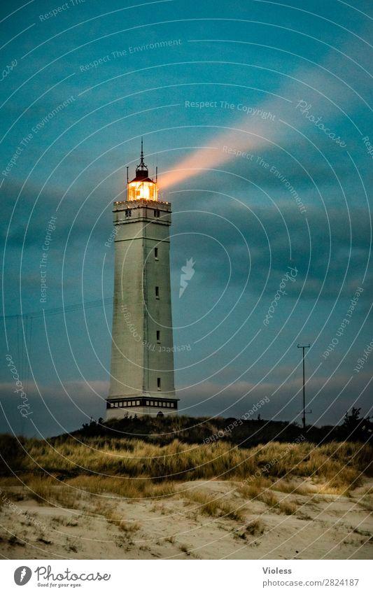 blavandshuk fyr lighthouse III Leuchtturm Blavands Huk Blavands Fyr Dänemark Düne Stranddüne Dünengras Jütland Lighthouse Nordsee Sonnenuntergang Dämmerung