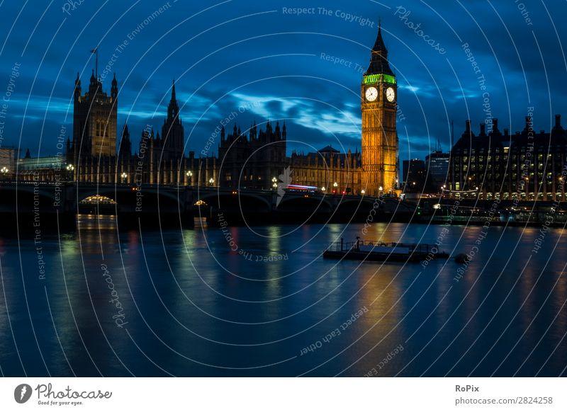 Abendstimmung an der Themse. Ferien & Urlaub & Reisen Tourismus Sightseeing Städtereise Nachtleben Wirtschaft Architektur Umwelt Wasser Himmel Nachthimmel Klima