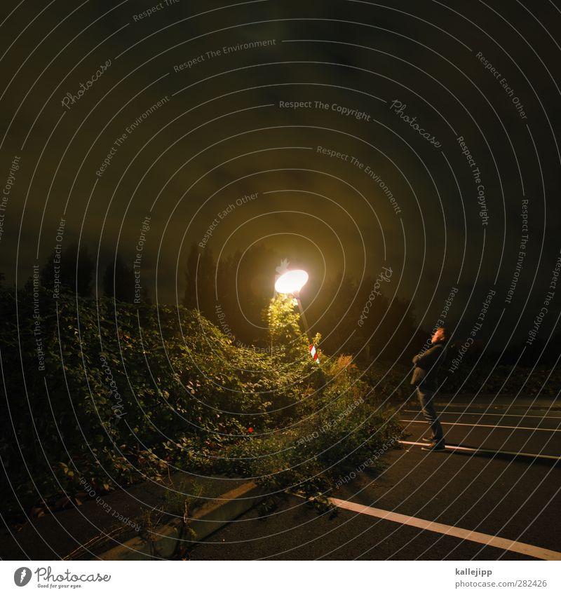 gute besserung frank Mensch maskulin Mann Erwachsene 1 30-45 Jahre stehen Lampe Laterne Licht Parkplatzbeleuchtung Einsamkeit Himmel (Jenseits) Farbfoto