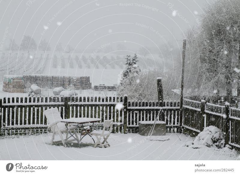 Sitzgelegenheit | der winter kommt bestimmt Winter Schnee Häusliches Leben Garten Stuhl Tisch Umwelt Natur Landschaft Schneefall Feld Gartenzaun Gartenstuhl