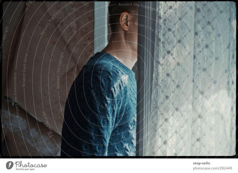 Der Nachbar steht ständig hinter den Gardinen Mensch Jugendliche Einsamkeit ruhig Erwachsene Fenster Kopf Junger Mann träumen Stimmung offen maskulin warten