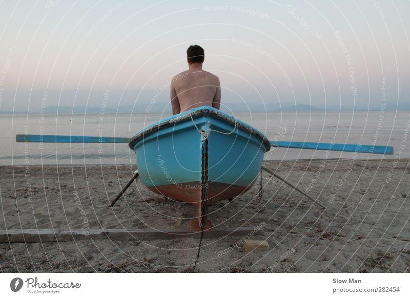 wo der Wille ist, ist auch... Mensch Mann Meer Strand Einsamkeit ruhig Erwachsene Leben Horizont Rücken maskulin Fitness Sehnsucht Konzentration Übergewicht