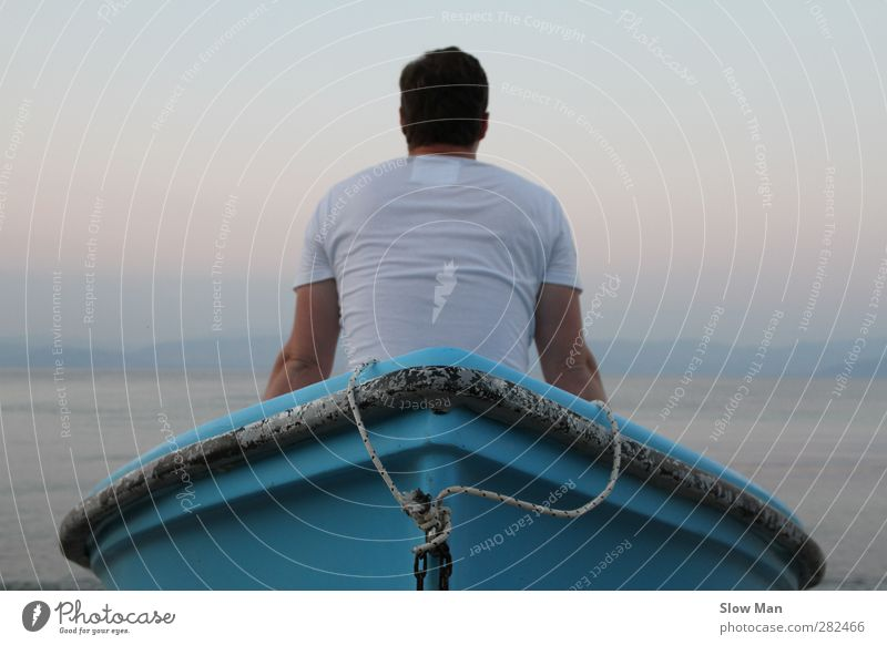 ich habe alles versucht.. und nu ? Mensch Jugendliche Ferien & Urlaub & Reisen Wasser Meer Wolken ruhig Erholung Küste Freiheit Junger Mann Wasserfahrzeug