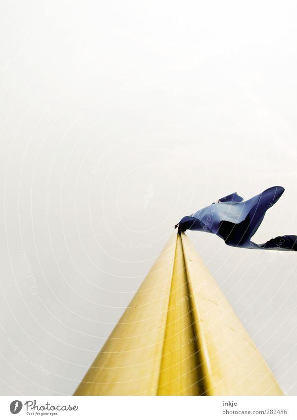 Froschperspektive II blau weiß gelb oben hoch Fahne Werbung Wolkenloser Himmel wehen Werbebranche Fahnenmast flattern Vor hellem Hintergrund
