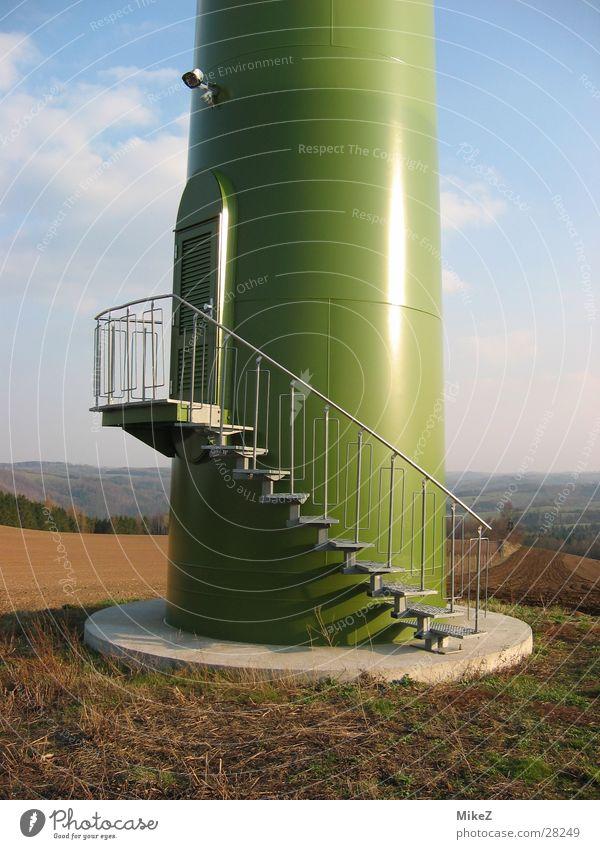 Die Treppe Natur Feld Architektur Energiewirtschaft Windkraftanlage Eingang Eisenrohr Säule