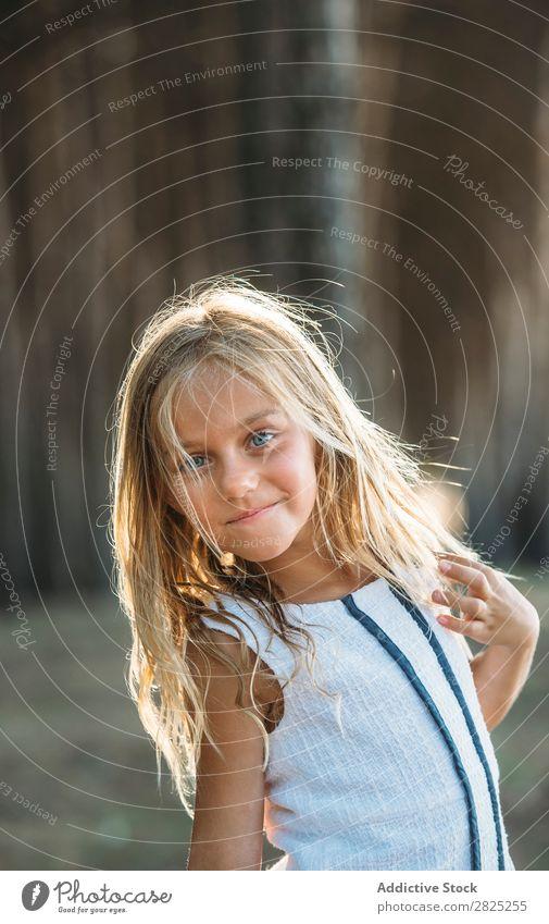 Schönes Kind im Sonnenlicht Mädchen Porträt Körperhaltung unschuldig Sommer Ausdruck Natur Reinheit Stil die Hände gekreuzt reizvoll frisch Unbekümmertheit