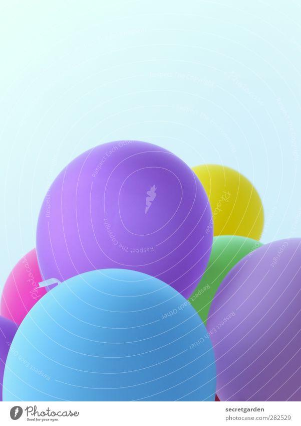 happy birthday! blau Sommer Freude Party Luftballon rund violett Wolkenloser Himmel Partystimmung