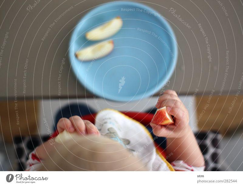 Mahlzeit ! Lebensmittel Frucht Apfel Ernährung Bioprodukte Vegetarische Ernährung Fingerfood Teller Schalen & Schüsseln Kind Kleinkind Kindheit Kopf Arme Hand 1