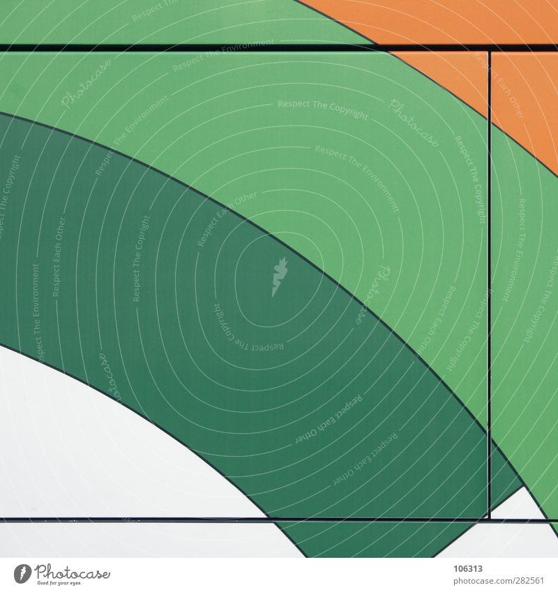 ‡ Metall Linie grün orange weiß graphisch Grafische Darstellung geschwungen Abtrennung Teilung Zwischenraum Farbfoto Außenaufnahme Menschenleer