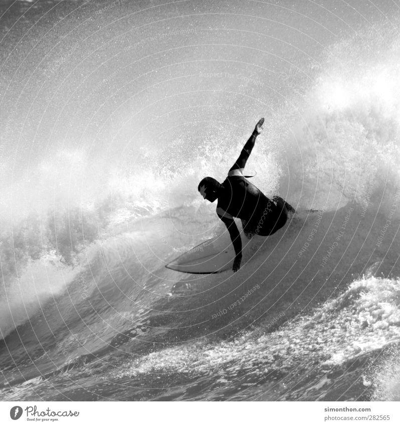 surfer sportlich Fitness Ferien & Urlaub & Reisen Ferne Freiheit Sommer Sonne Meer Wellen Sport Wassersport maskulin 1 Mensch Unendlichkeit Surfen Surfer