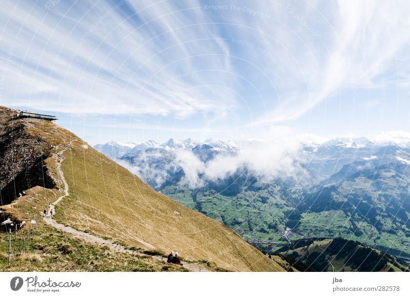 Berner Alpen 2 Leben Tourismus Ausflug Ferne Sommer Berge u. Gebirge wandern Natur Landschaft Urelemente Luft Wolken Herbst Schönes Wetter Wind Felsen